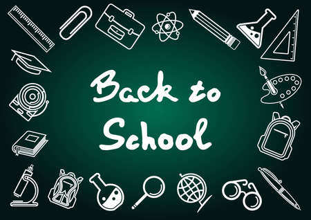 Back to School poster, banner or label template. Vector illustration