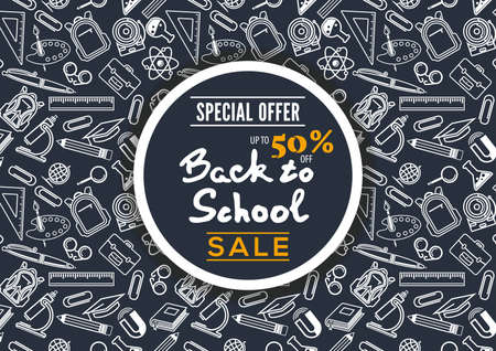 Back to School Sale poster, banner template. Vector illustration