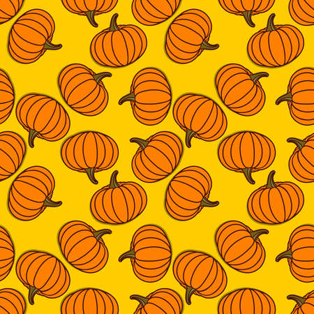 Seamless pattern with pumpkins. Vector illustration