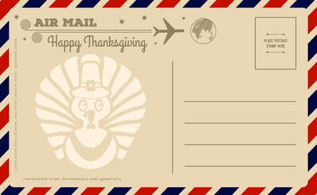 Cartolina d'epoca del giorno del ringraziamento. Illustrazione vettoriale.