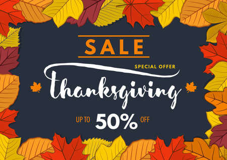 Thanksgiving day Sale poster, banner template with autumn leaves. Vector illustration Reklamní fotografie - 129267079