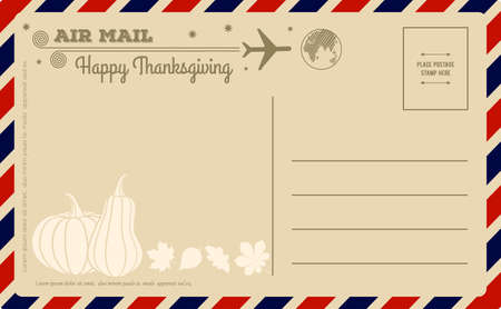 Vintage Thanksgiving Day Postcard. Vector illustration. Ilustrace