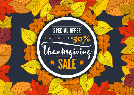 Thanksgiving day Sale poster, banner template with autumn leaves. Vector illustration Ilustrace