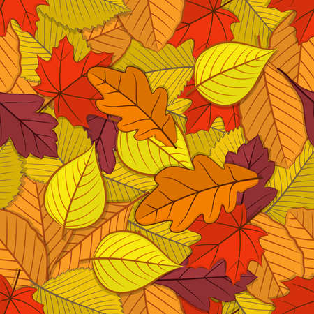 Autumn seamless pattern with fall leaves. Vector illustration Ilustrace