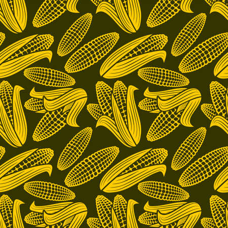 Seamless pattern with corn. Vector background in autumn style.