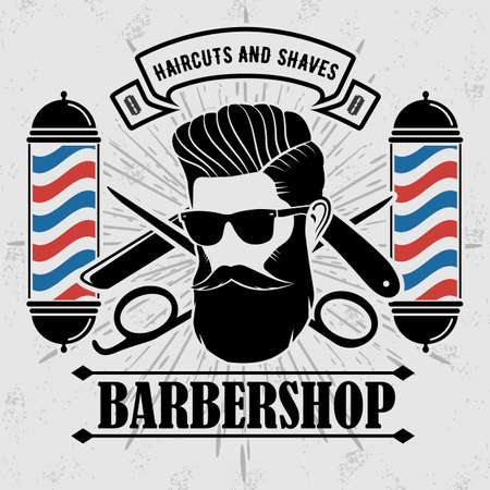 Barbershop Logo with barber pole and bearded men in sunglasses