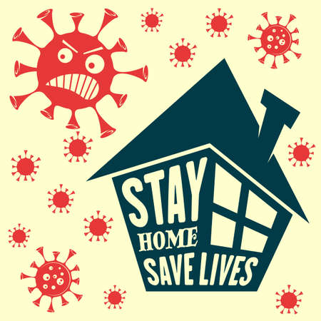 Stay at home, stay safe icon isolated on yellow