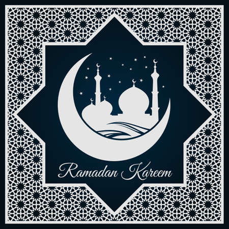 Ramadan Kareem greeting card or banner with Mosque silhouette on crescent moon and Arabic ornament, Islamic pattern