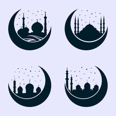 Mosque silhouette on crescent moon isolated on white background. Vector illustration.