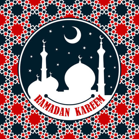 Ramadan Kareem greeting card or banner with Mosque silhouette Ilustrace