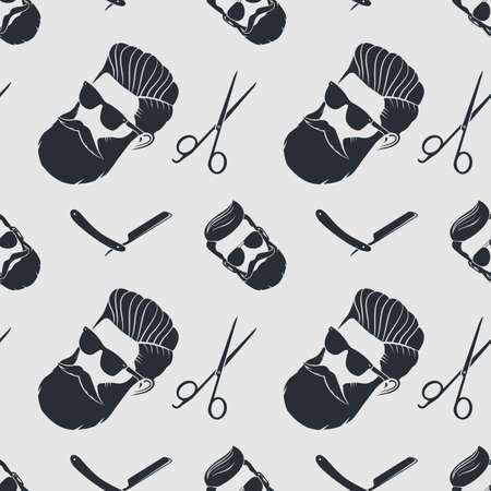 Barbershop seamless pattern with hipster face, hairdressing scissors and razor. Vector illustration