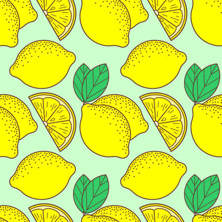 Fresh lemons seamless pattern. Flat style vector illustration Ilustrace