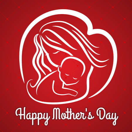Mother s day greeting card with symbol of mom and baby. Vector illustration