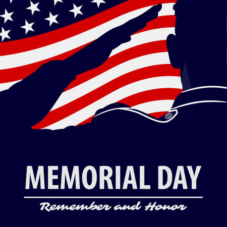 Memorial day poster template. US Army soldiers saluting on american flag background.