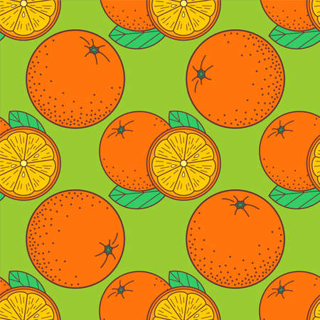 Fresh Orange fruit seamless pattern. Vector illustration Ilustrace