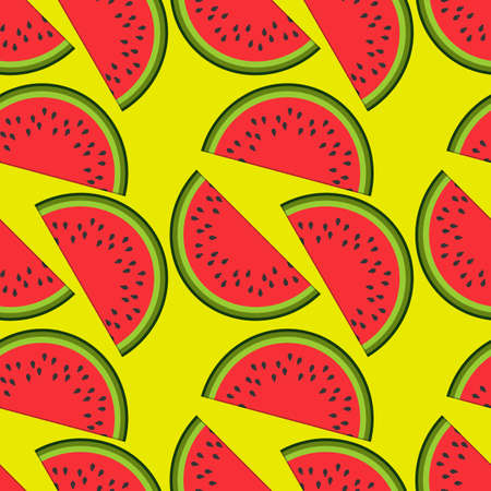 Watermelon seamless pattern. Flat style vector illustration Ilustrace