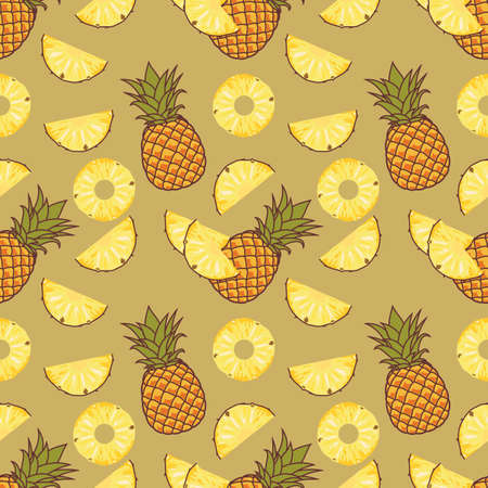 Pineapple with slices seamless pattern. Flat style vector illustration.