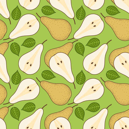 Pear seamless pattern. Flat style vector illustration.