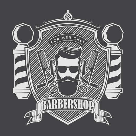 Barbershop Logo with barber pole and bearded men in sunglasses. Vector template Ilustrace