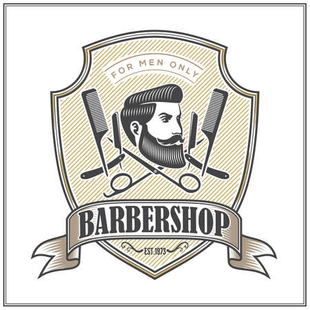 Barbershop Logo with barber pole and bearded men in vintage style. Vector template