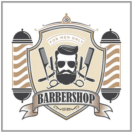 Barbershop sign with barber pole and bearded men in vintage style. Vector template Ilustrace
