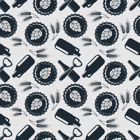 Craft Beer seamless pattern. Vintage style vector illustration.