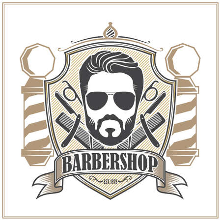 Barbershop poster or banner with Bearded men. Vector illustration