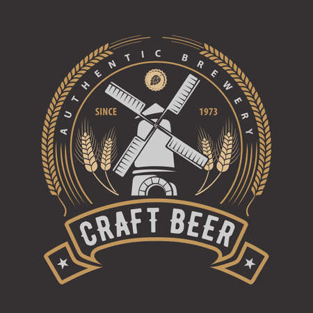 Craft Beer Badge or Label design template. Vector illustration