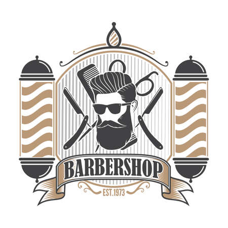 Barber shop poster, banner template with Bearded men in sunglasses. Vector illustration Ilustrace