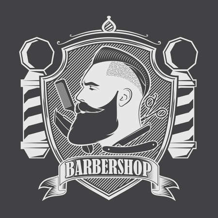 Barbershop poster, banner template design with Bearded men and barber pole. Vector illustration Ilustrace