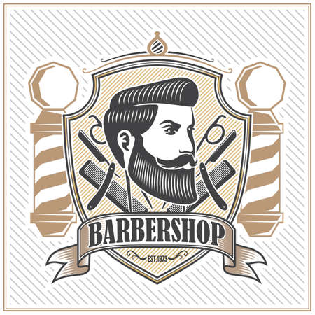 Barber shop poster, banner template design with Bearded men and barber pole. Vector illustration