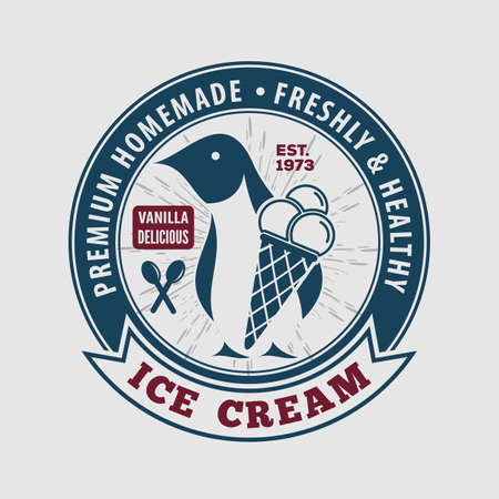 Ice Cream Label, Poster  design template. Vector illustration.