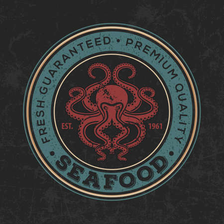 Seafood design concept with octopus. Vector illustration