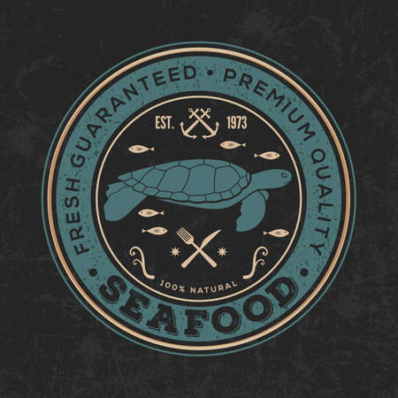 Seafood design concept with sea turtle. Vector illustration. Ilustrace