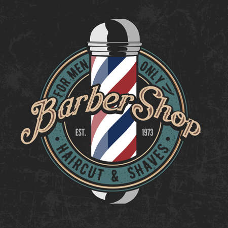 Barbershop poster, banner template design with barber pole. Vector illustration Ilustrace
