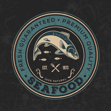 Seafood poster, banner or   template with jumping salmon fish. Vector illustration