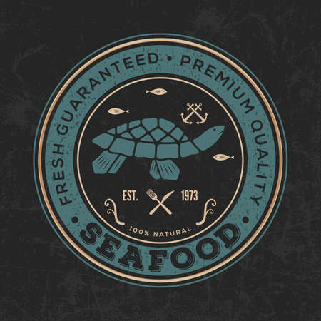 Seafood design concept with Sea Turtle. Vector illustration