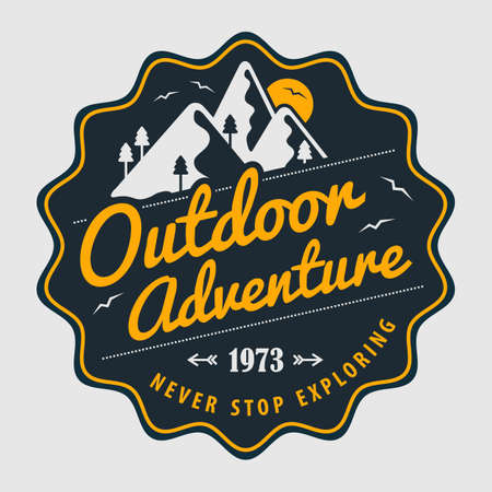 Outdoor Adventure vintage label, badge or emblem. Vector illustration
