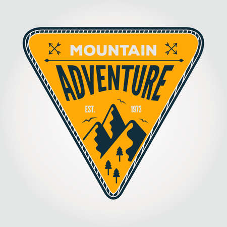 Mountain Adventure vintage label, badge or emblem. Vector illustration