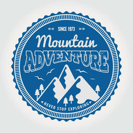 Mountain Adventure vintage label, badge or emblem. Vector illustration. Ilustrace
