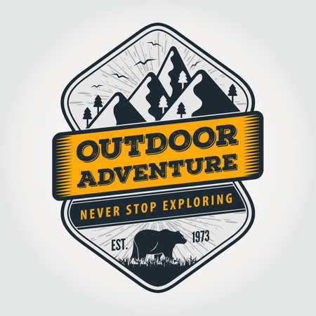 Outdoor Adventure vintage label, badge or emblem. Vector illustration.