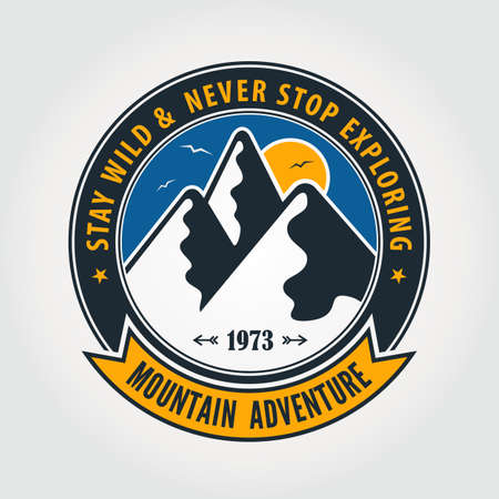 Mountain Adventure vintage label, badge  or emblem. Vector illustration.