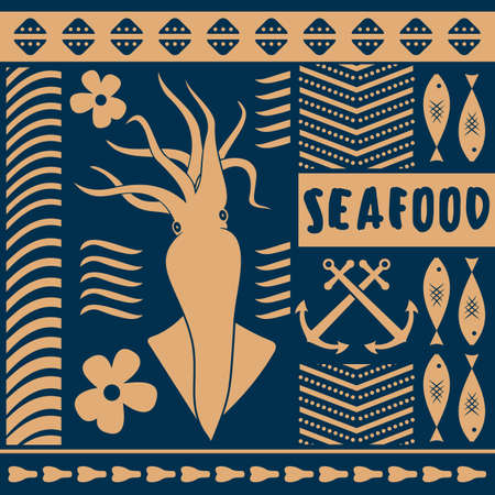 Seafood restaurant poster, banner template with Squid. Vector illustration.