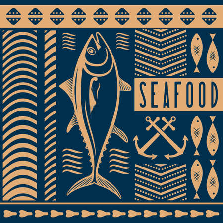 Seafood restaurant poster, banner template with Tuna fish. Vector illustration. Ilustrace