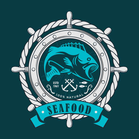 Seafood design concept with bass fish.