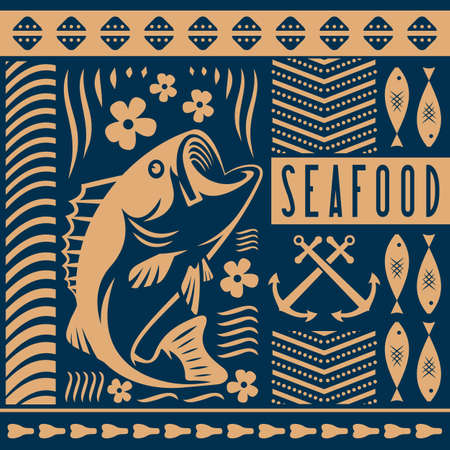 Seafood design concept with bass fish. Vector illustration Ilustrace