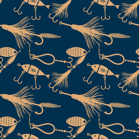 Fishing lures seamless pattern. Flat style illustration