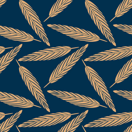 Feather seamless pattern. Flat style illustration.