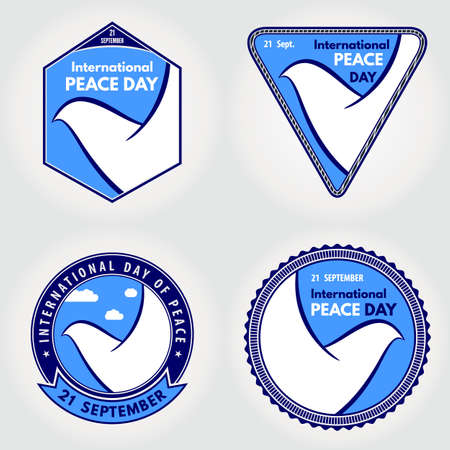 Set of International day of peace posters, badges or banners with white dove. 矢量图像