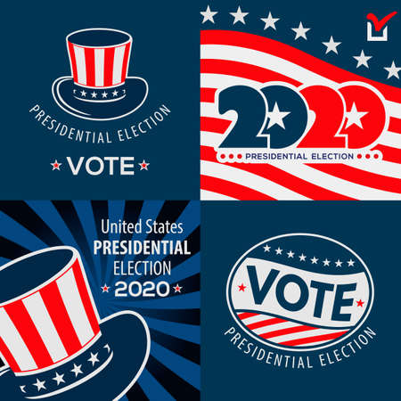 Set of USA presidential election posters design concept. Vector illustration